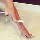 Clear Pointed Toe Stilettos Sexy Wedding Shoes Sandals Pumps Fashion Womens