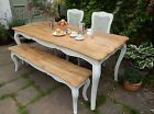 French Style Country Farmhouse Kitchen Dining Set Table Bench Chairs Painted NEW