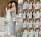 long Chiffon Silver / grey Bridesmaid Dresses Prom Evening Gowns Stock Size 6-22