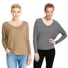 Marks & Spencer Womens Boxy Top New M&S Relaxed Long Sleeve V Neck Oatmeal Grey