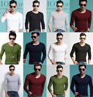New Men's V Neck Round Neck shirts Slim Fit Long Sleeves Casual T-shirt Tee Tops