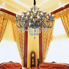 Crystal Chandelier Ceiling Lamp Vagueo 2-Tier 15-Light Chandelier in Smokey Gray