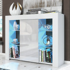 Modern Cabinet Cupboard Sideboard Matt Body And High Gloss Doors + Free Led