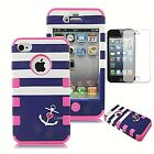 Hybrid Shockproof Rubber Matte Hard Case Cover For Apple iPhone 4 4S - Stripes