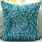 Sequins And Beaded Blue Art Silk 12x12 Decorative Pillow Covers - Aqua Infinity