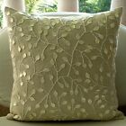 "Beige Mother Of Pearls 12""x12"" Cotton Linen Pillows Cover - Vintage Garden"