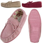 Lambland Ladies Cotton Lined Sheepskin Suede Moccasin Slippers with PVC Sole