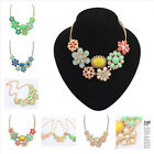 Fshion Women Bohemia Flower Pendant Chunky Chian Big Statement Necklace