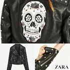ZARA  Faux Leather Long Sleeves Jacket with Metallic Details Authentic Black