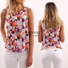 New Fashion Women Casual O-Neck Sleeveless Prints Pullover Loose Vest TXSU
