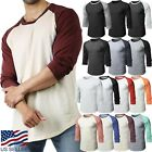 Mens Baseball RAGLAN T Shirts 3 4 Sleeve Tee Plain Team Sport Jersey Solid