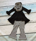 Girls Black High Low Dress Black Striped Flair Pants Scarf Outfit Sizes 2T-9 NEW