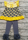 Girls Back to School Outfit Gray School Bus Flutter Top Icing Pant 2T 3T 4 5 6 7