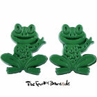 TFB - MINI FROGS DARK GREEN STUD EARRINGS QUIRKY NOVELTY GIRLS GIFT CUTE ANIMAL