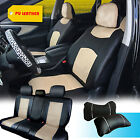 PU Leather Full Car Seats Front Rear Compatible to Dodge 1559 Black/Tan $59.95 USD on eBay