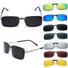 Men's Polarized Sunglasses Clip On Driving Glasses Day Night Vision Lens UV400