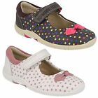 SALE GIRLS CLARKS LEATHER BOW FRONT RIPTAPE STRAP POLKA DOTS SHOES BINNIE DOTS