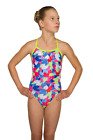 Maru Puzzled Hearts Sparkle Fly Back.Girls Junior Swimwear Swimming Costumes