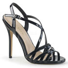 Pleaser AMUSE-13 Women's Black Patent High Heels Criss-Cross Ankle Strap Sandals