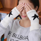 Womens Mens Knitted Mittens Five-pointed Star Fingerless Wrist Gloves Warm Hand