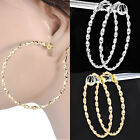 #C011 NON-PIERCED CLIP ON Stylish 3mm Thick Large 6cm TWIST HOOP EARRINGS New