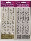 ELEGANZA 50 GOLD OR SILVER STYLISED NUMBER 0-9 SELF ADHESIVE CRAFT STICKERS