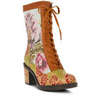 New L'Artiste CASANDRA-CAM Women's Camel Multi Tapestry/Leather Lace Up Boots