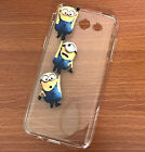 for Samsung Galaxy J3 2017 - SOFT TPU RUBBER CLEAR CASE COVER MINIONS HANGING