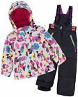 Deux par Deux Girls' 2-Piece Snowsuit Confetti Garden Black, Sizes 4-14