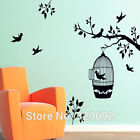 Beautiful Branch with a Bird Cage Wall Decal Home Decor Art Mural Vinyl Sticker