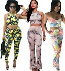 Womens Floral Crop Tops and Long Pants Suits Outfits Bodycon Romper Jumpsuit