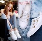 New Hot Fashion Flower Floral Real Leather Lace Up Sneakers Shoes Black & White