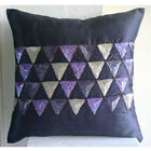 """Sequins Triangle 16""""x16"""" Art Silk Purple Throw Pillow Covers - Violet Triangles"""