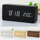 Wooden Digital Led Display Desk Table Clock Temperature Alarm Modern Home Decor