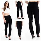 NEW WOMENS GIRLS BLACK SCHOOL WORK OFFICE STRAIGHT LEG 2 BUTTON CASUAL TROUSERS