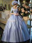 Vintage Victorian Blue short sleeve tunic retro Princess costume Ball Gown Dress