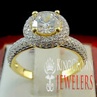 14K YELLOW GOLD SILVER 3CT BRILLIANT CUT CLEAR LAB DIAMOND SOLITAIRE CUSTOM RING