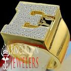 Mens Big Bold 10K Yellow Gold On Real Silver Initial Letter E Simu Diamond Ring