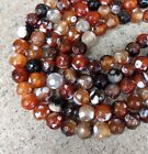8mm Red Fire Agate Gemstone Beads Full Strand Faceted and Round S141b