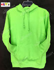 NW MEN'S PLAIN PULLOVER HOODIE JACKET NEON YELLOW GREEN PINK FLEECE SWEATSHIRTS