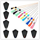 Women Fashion Long Chain Necklace Charm Colorful Leather Tassel Pendant Jewelry