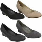 F9697 LADIES SLIP ON MID WEDGE HEEL CASUAL WORK COURT SHOES SPOT ON SIZE