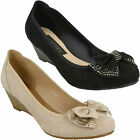 F9983 LADIES ANNE MICHELLE SLIP ON DIAMANTE BOW MID WEDGE SMART COURT SHOES SIZE