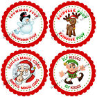 CHRISTMAS Poop, Coins, Kisses,Stickers for party bags/Sweet Cones,Gifts Rf 05-01