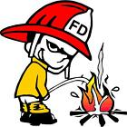 FIREFIGHTER PEE ON FIRE color vinyl bumper decals stickers (283)