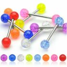 Surgical Steel Glitter Ball Acrylic Ball Tongue Bar Body Piercing Jewellery