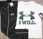 New! Boys Under Armour Outfit (Shirt, Pants; I Will; White/Black) - Size 4