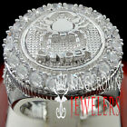 Mens 10K White Gold Silver Lab Diamond Cancer Crab Zodiac Astrology Pinky Ring