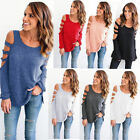 Women Loose Long Sleeve Tops Cold Shoulder Blouse Sweater Sweatshirt Pullover