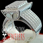 Ladies 10K White Gold On Silver Bridal Engagement Ring Round Cut Simu Diamond